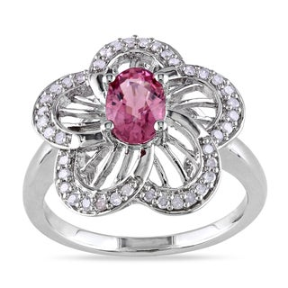 Miadora Sterling Silver Pink Tourmaline 1/5ct TDW Diamond Ring (H-I, I2-I3)