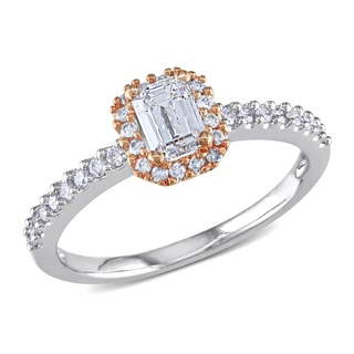 Miadora 14k White Gold 3/4ct TDW Emerald-cut Diamond Engagement Ring (G-H, I1-I2)