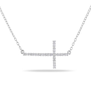 M by Miadora Sterling Silver 1/10ct TDW Sideways Diamond Cross Necklace (H-I, I2-I3)