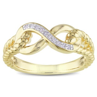 M by Miadora Yellow-plated Silver Diamond Infinity Ring (H-I, I2-I3)
