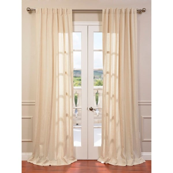 Lanai Natural Linen Blend Herringbone Curtain Panel