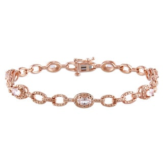 Miadora Rose-plated Silver 1 1/4ct TGW Morganite Bracelet