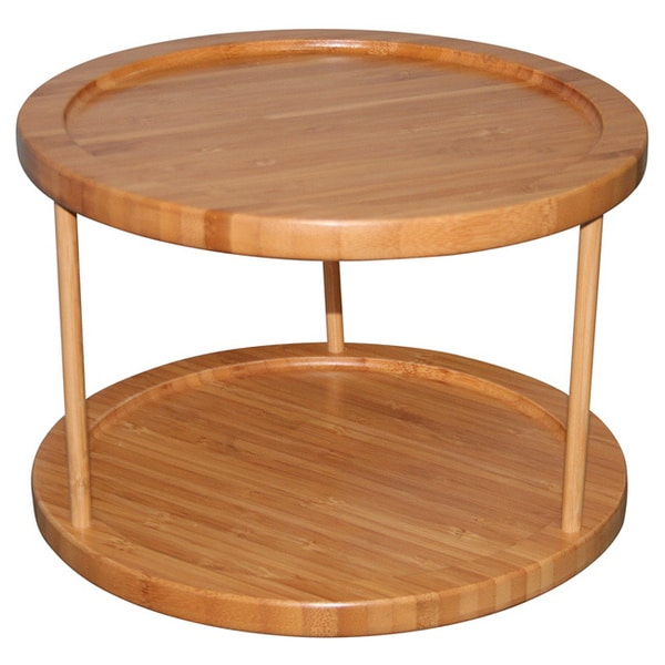 Bamboo 2-tier Turntable Tray