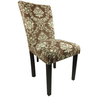 Elegant Brown/ Golden Damask Parson Chairs (Set of 2)
