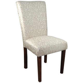 Classic Ivory White/ Silver Damask Parson Chair (Set of 2)