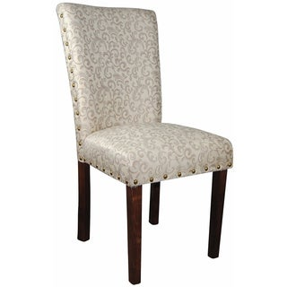 Classic Ivory White/ Silver Damask Brass Nailhead Parson Chair (Set of 2)