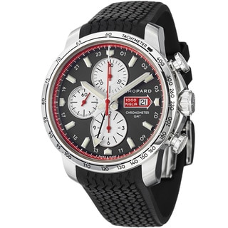 Chopard Men's 'Miglia GMT' Grey Dial Black Rubber Strap Watch