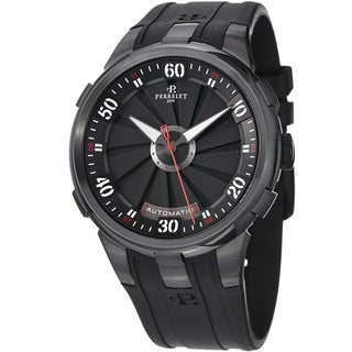 Perrelet Men's A1051/1 'Turbine XL' Black Dial Black Rubber Strap Watch
