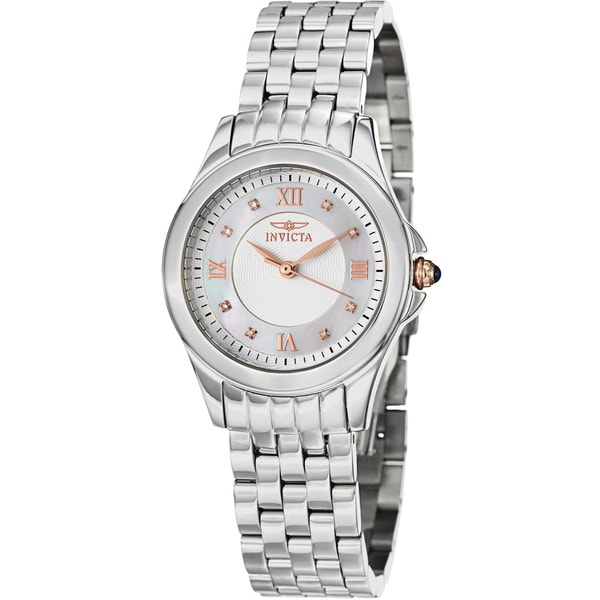 Invicta Women's IN12545 'Angel' Mother of Pearl Stainless Steel Quartz Watch