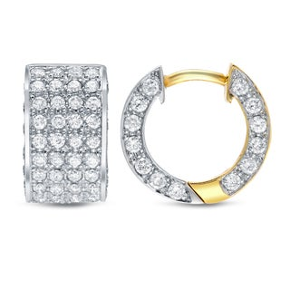 Auriya 14k Two-tone Gold 2ct TDW Diamond Pave Huggie Hoop Earrings (H-I, SI1-SI2)