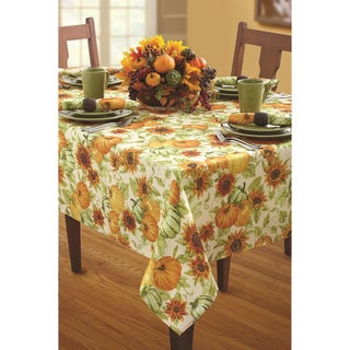 Natural Harvest Ivory Print Textured Polyester Tablecloth