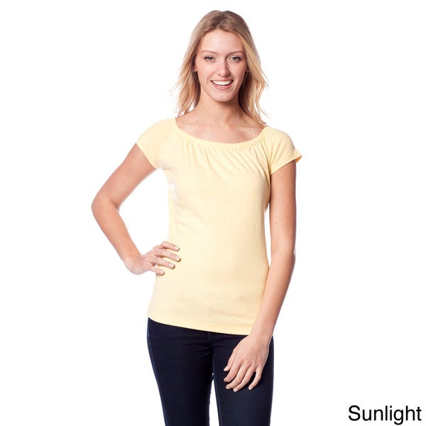 AtoZ Women's Gathered Scoop Neck T-Shirt