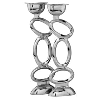 Aluminum Large Oval Loops Candleholders (Set of 2)