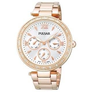 Pulsar Women's Crystal Silver Dial Rose Gold Swarovski Watch - PP6104