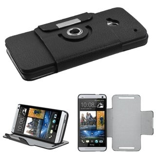 BasAcc Black Premium Rotatable MyJacket Wallet Case for HTC One/ M7