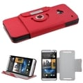 BasAcc Red Premium Rotatable MyJacket Wallet Case for HTC One/ M7