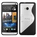 BasAcc Clear/ Black S Shape With Stand Gummy Case for HTC One/ M7