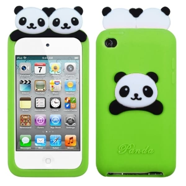 INSTEN Green Peeking Pandas Pastel Skin iPod Case Cover for Apple iPod Touch 4