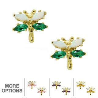 Gioelli Gold over Silver Gemstone and Created Opal Dragonfly Earrings