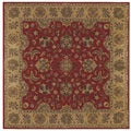 Boarder Square Wool Tufted Red Gold Area Rug (9' x 9')