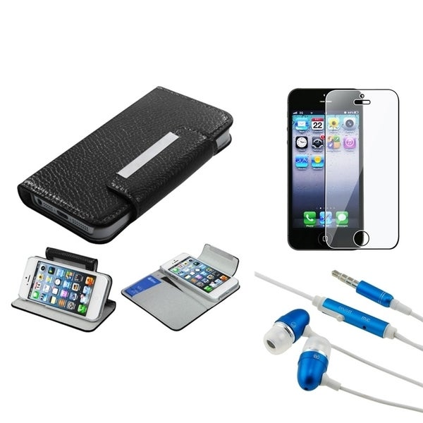 INSTEN Wallet Phone Case Cover/ Headset/ Screen Protector for Apple iPhone 5