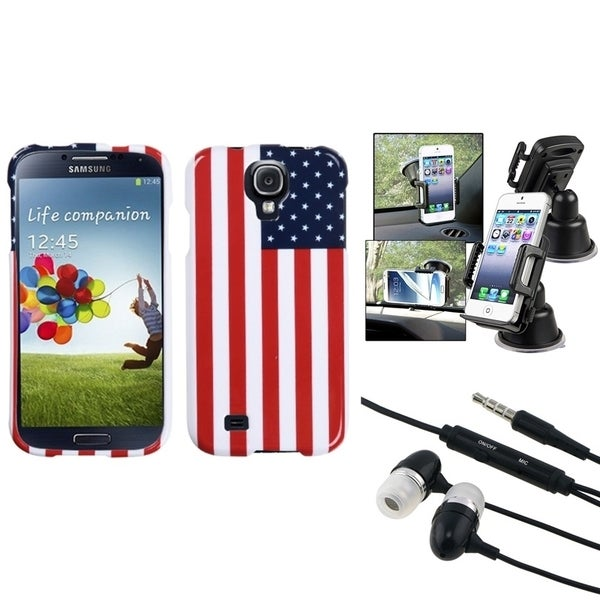 INSTEN US Flag Phone Case Cover/ Phone Holder/ Headset for Samsung Galaxy S 4