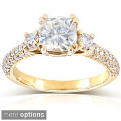 14k Gold Cushion-cut Moissanite and 1/2ct TDW Round-cut Diamond Engagement Ring (G-H, I1-I2)
