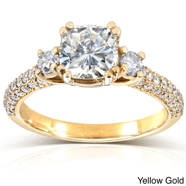Annello 14k Gold Cushion-cut Moissanite and 1/2ct TDW Round-cut Diamond Engagement Ring (G-H, I1-I2)