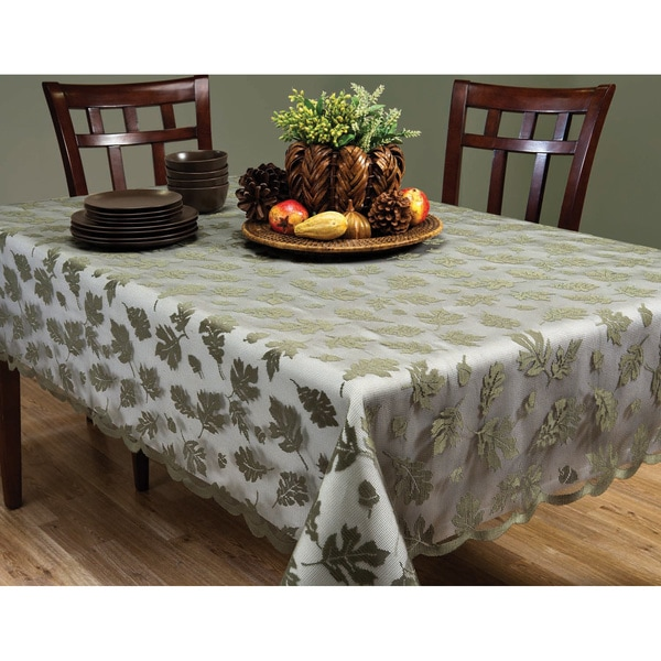 Leaves Sage Laced Pattern Knitted Polyester Tablecloth