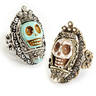 Sweet Romance Day of the Dead Calavera Queen Carved Skull Ring