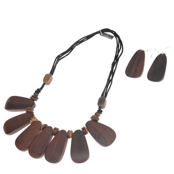Eco Friendly Wood Plain Tile Necklace and Earring Set (India)