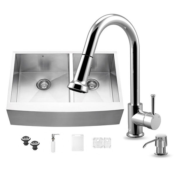 Vigo All-in-One Stainless Steel 33-inch Farmhouse Double Bowl Kitchen Sink and Chrome Faucet Set
