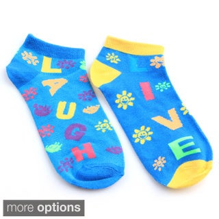 """All Mixed Up Ladies' """"Live Love Laugh"""" 6-Pair Pack Of Anklet Socks"""