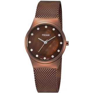 Pulsar Women's Crystal Chocolate Brown Ion Swarovski Watch - PH8055