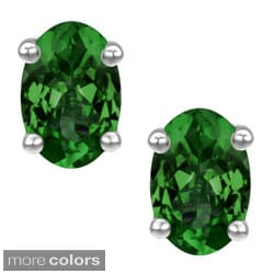 Platinum-plated Sterling Silver Oval-cut Created Emerald or Created Ruby Stud Earrings