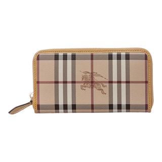 Burberry 'Ziggy' Beige/ Yellow Large Haymarket Zip-around Wallet