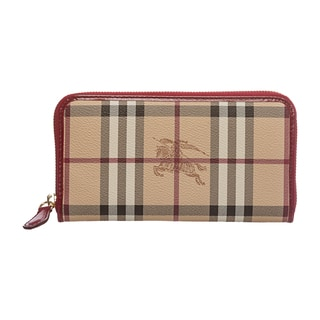 Burberry 'Ziggy' Beige/ Red Large Haymarket Zip-around Wallet