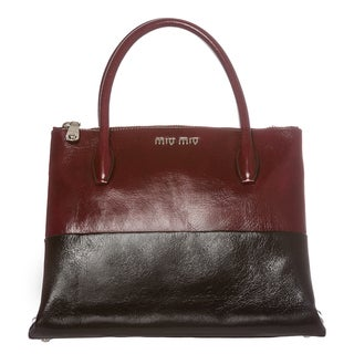 Miu Miu 2-tone Glossed Leather Tote