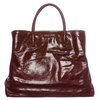 Miu Miu Cracked Glossed Leather Tote