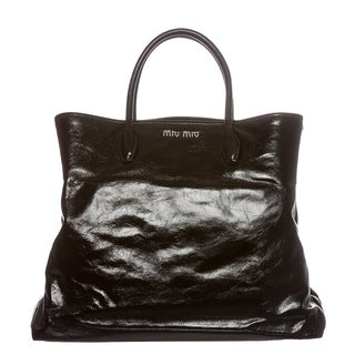 Miu Miu Black Cracked Glossed Leather Tote