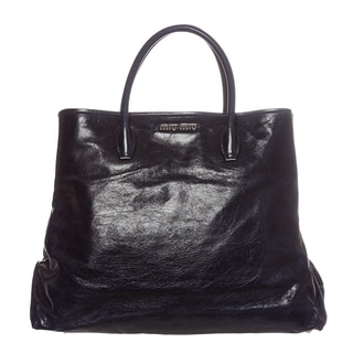 Miu Miu Dark Blue Cracked Glossed Leather Tote