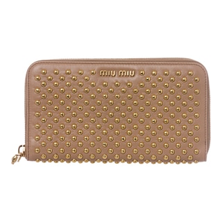 Miu Miu Nappa Studded Zip Around Wallet