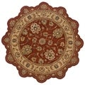 Hand-tufted Border Star Rust/ Gold Wool Rug (5' Round)