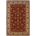 Hand-tufted Oriental Red/ Ivory Wool Rug (3'6 x 5'6)