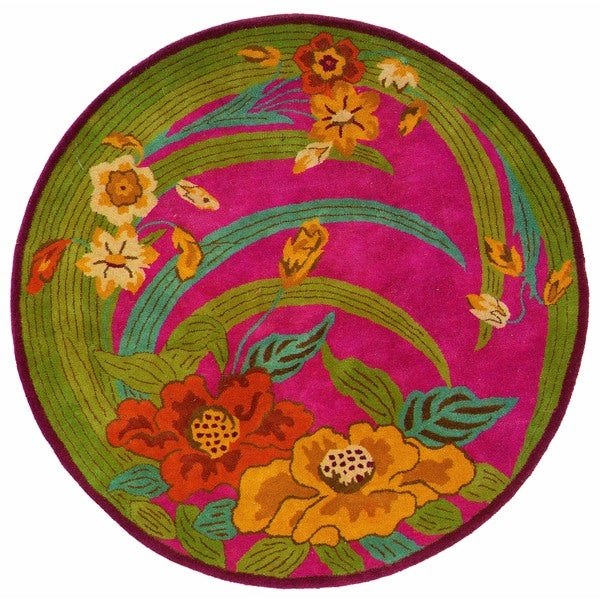 LNR Home Vibrance Pink Floral Wool Rug (3' Round) 11672598