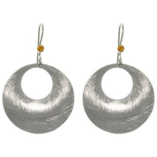 Carolina Glamour Collection Pewter and Steel Amber Crystal Earrings