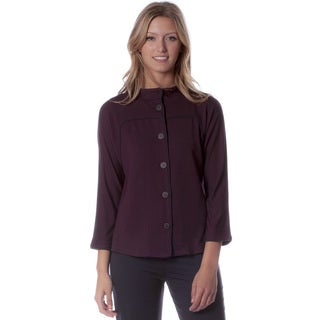 AtoZ 3/4-sleeve Button Front Mockneck Jacket