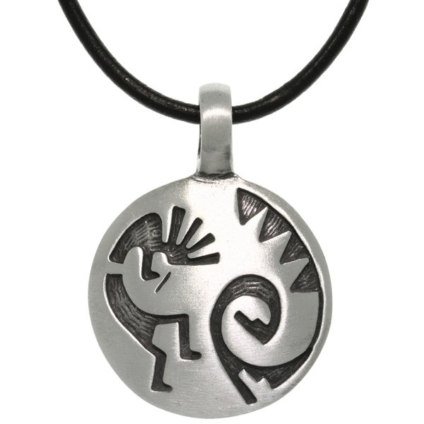 Pewter/ Leather Etched Kokopelli Necklace 11672718