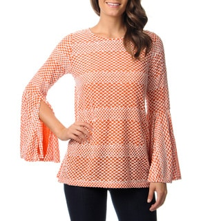 Mechant Women's Orange Openwork Knit Top