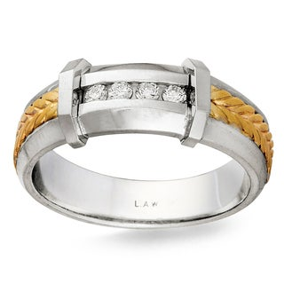 14k Two-tone Gold 1/8ct TDW Men's Braided Comfort Fit Diamond Wedding Band (G-H, SI1-SI2)